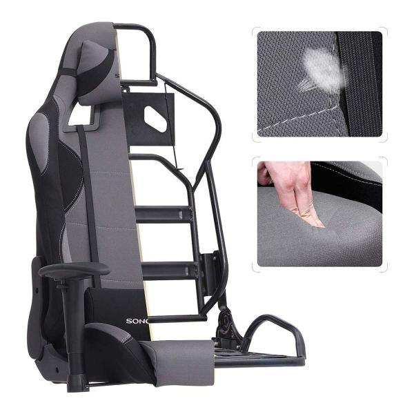 Gamestoel met kantelfunctie en verstelbare armleuningen (zwart / grijs)