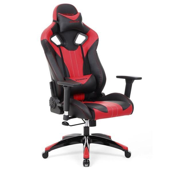 Gamestoel met kantelfunctie en verstelbare armleuningen (zwart/rood)
