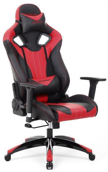 Gamestoel met kantelfunctie en verstelbare armleuningen (zwart/rood) Ergonomisch werken