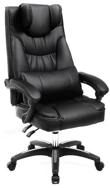 Luxe extra grote bureaustoel met opklapbare hoofdsteun en verstelbaar rugkussen
