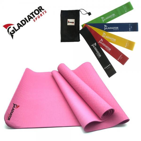 Thuissport Pakket – Yogamat Roze + Weerstandsbanden